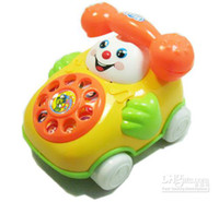 Plastic baby telephone toy - Backguy smiley phone music baby phone educational toy for baby Pull line telephone car