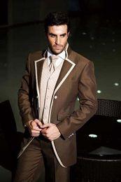 Custom-tailor Chocolate Groom Tuxedos Notch Lapel Groomsman Suits (Jacket+Pants+Tie+Waistcoat) G686