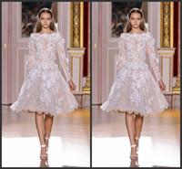 achat en gros de zuhair murad robe de dentelle blanche-Zuhair Murad Haute Couture Blanc Lace Sheer manches longues Robes de soirée courte au Liban Longueur genou Robes de cocktail