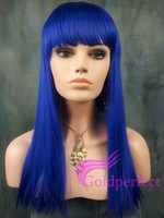 blue Straight Synthetic hair Queen products synthetic hair wig heat resistant beauty synthetic cosplay wig or Party wig for women