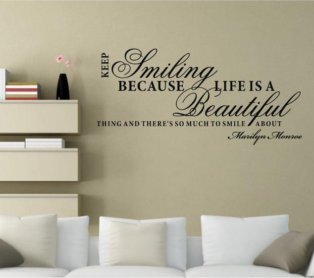 Keep smiling marilyn monroe wall quote decal sticker decor for Jugendzimmer poster
