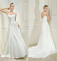 Reference Images Strapless Elastic Satin Simple Design Strapless A-line Lace-up Floor-length Stretch Satin Beaded Wedding Dresses Beach Gown
