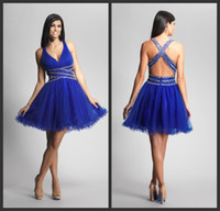 affordable cocktail dresses - V neck Mini Short Affordable Fashion Beaded Ruffle Off shoulder Organza Blue cocktail dresses party gown prom dress