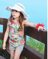 Wholesale 2013 Heat gear girl emboitement baby suit Printing one shoulder virgin suit children clothes set