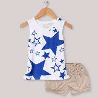 Girl Spring / Autumn Short Wholesale Kids Summer Clothing Set Sleeveless Girls Blue Stars T Shirt And Gray Pants Children Wear