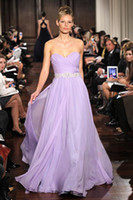Wholesale Sweetheart Lavender Chiffon Ruffles Bridesmaid Dress Beaded Waistband Floor Length Prom Dress BO0392