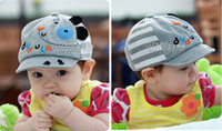 Wholesale 2013 Baby Cute Dog Style Grey Cotton Hat Baby Baseball Cap Male and Female Baby Caps Baby Hats