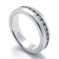 Wholesale Stainless steel Casting Set with white diamond ring men punk Band Rings