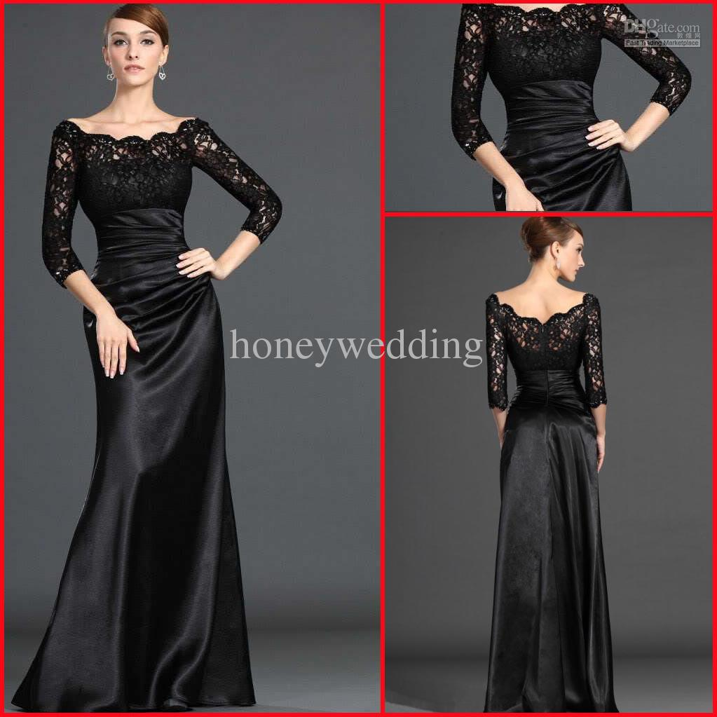 2015 Best Selling Sheath Off The Shoulder Long Sleeves Lace Satin ...
