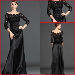 Wholesale 2015 Best Selling Sheath Off The Shoulder Long Sleeves Lace Satin Black Evening Dresses DH2314