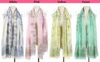 Wholesale 10 Vintage Style Women lady Totem Flowers Long Scarf Shawl Wrap fx182