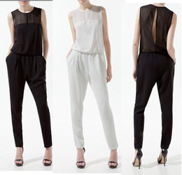 Wholesale hot sellng Women Sleeveless Jumpsuit Splicing Personalized Chiffon Pants Coveralls