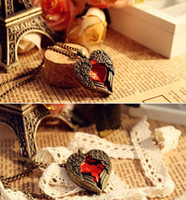 Wholesale Vintage Red Diamond Peach Heart Wings Long Necklaces With Ruby Chain Sweater Necklace PCSXL25