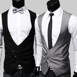 Wholesale Korean Man fashion Suit Vest Top slim fit luxury button M L XL business Vest MJO3