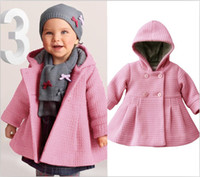 Wholesale Girls Baby Winter Warm Coats New Children Overcoat Baby Hooded Sweatercoats Girls Windbreakers
