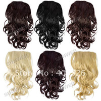 Wholesale Women s Long quot Half Head Body Wavy Clip Reversible Wig with Rhinestone Claw Hairpin