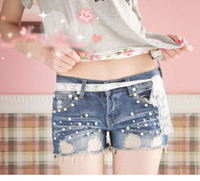 Wholesale 2013 Summer pearl design frayed short jeans worn out with hole hot denim pants for women
