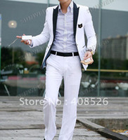 Wholesale Hot Men s wedding Suit contains Jacket pant Western Style Outwear Leisure White Suit Blazer Size M L XL XXL