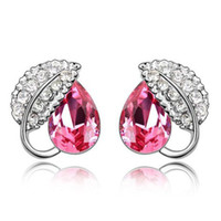 Wholesale Sales Promotio Rose Red Blue crystal Lady s Earrings Jewelry Environmental Plating Colors prs IRE