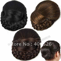 Wholesale New Fashion Women Girl Clip in Hairpiece Clip in Hair Bun Ponytail Scrunchie Dark Brown