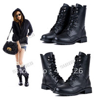 Wholesale Fashion Women PU Leather Cool Black PUNK Military Army Knight Lace up Short Boots Shoes