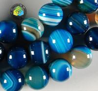 Wholesale mm DIY natural stripe blue Agate gemstone Round loose Beads