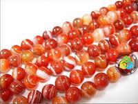 Wholesale mm DIY natural stripe red Agate gemstone Round loose Beads