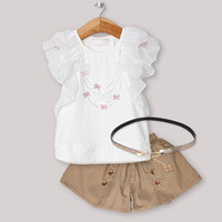 Wholesale 2013 New Arrival Girl Clothing Set White Printed Top and Brown Pants For Baby Girl Summer Wear White Lace T Shirt And Short
