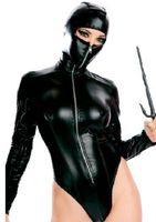 Bodystocking queen size sexy lingerie - 2013 Newest Sexy Woman Lingerie Teddy Zentai Black Masked Ninja Queen Uniform Unique Z3178