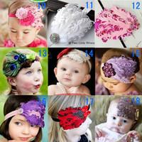 Wholesale Baby Hair Accessories Girls Hair Feathers Fashion Headwear Children Pearl Flower Bowknot Headbands