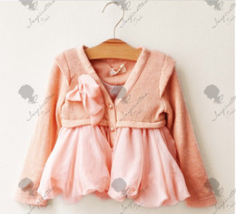 Wholesale children clothes kids cotton coat Fashion chiffon knitted sweater coat girls autumn wear clothes