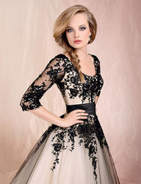 Wholesale 2015 New Sheer Long Sleeves Tulle Ball Gown Tea Length Cocktail Dresses With Black Lace Applique BO0447