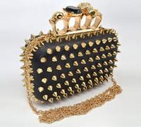 Women skull clutch - New Women Ring Bag Skeleton Skull Finger Clutch Purse Evening Clutch Purse Fashion Bag Factory Prcie