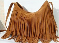 Wholesale Shipping Free Factory direct Fringe Tassel Shoulder Messenger handbag Suede handbag Brown Color gift