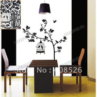 Wholesale Black BIRD CAGE Wall Sticker Living Room Wallpaper DECO STICKER