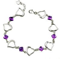 Wholesale Fashion Amethyst Bracelets White GOLD Plating Purple Heart To Heart Wedding Bridal Bangles Link Chain Women Engagement Bracelet Freeshipping