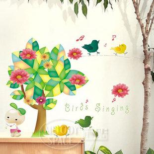 Wholesale wall stickers fairy tale forest cartoon child real bedroom