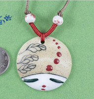 Wholesale XL3001 ceramic jewelry hand painted doll necklace pendant