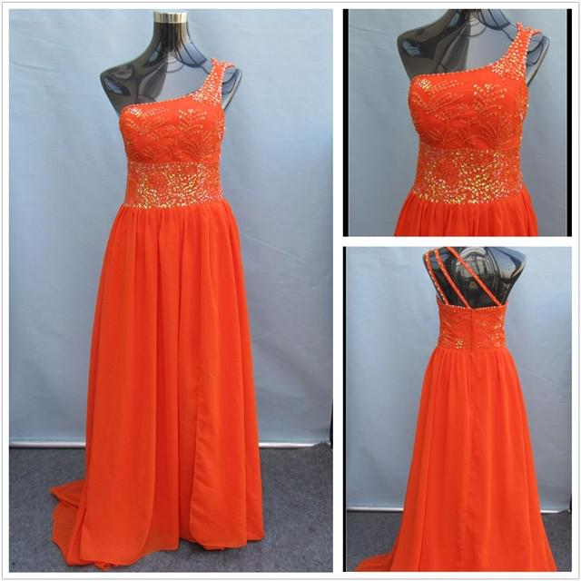 Actual image one shoulder bright orange chiffon with for Bright colored wedding dresses