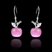 Pink Bohemian Women's White Gold Plating 925 Sterling Silver Earrings Dangle Opal Apple Pendant With Swiss Crystal Free