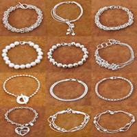 Wholesale Fashion jewelry Silver Multi Styles Charms Chain Bracelet Mix Styles Silver Bracelets