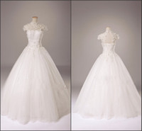 Real Photos High Collar Tulle Free Shipping Real Model High Collar Cap Sleeves Floor-length Appliqued Wedding Dress