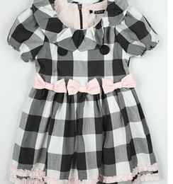 Wholesale the youngster dnky skirt girls cotton black and white plaid dress