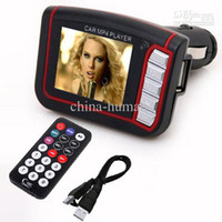 Wholesale 1 quot LCD Wireless Car MP4 MP3 Player FM Transmitter SD MMC USB Black Free DHL Fedex