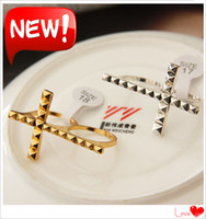 Wholesale Cross Rings Fashion Punk Double Finger Rings Bronze Silvery Color Cross Band Rings JZ148