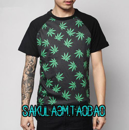 Wholesale Fashion Hot Sell men t shirt Huf plantlife green white leaf skateboard cloth tees