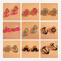 Wholesale Collarpin Mix Element Brooch Mustache Anchor Rudder Collar Brooches Multi Color XZ006