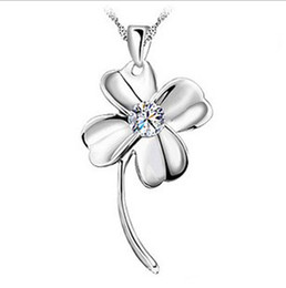 Four Leaf Clover Pendant 925 Sterling Silver Necklace 25*13MM Amethyst Crystal Pendant Necklace Women Jewelry Fashion New
