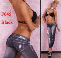 Wholesale Stretched Jean look Fashion leggings for women water wave printing sexy Leggins Slimming pants factory price mix order
