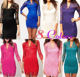 Wholesale Women Dress Lace Mini Dress Scalloped V Neck Ladies Sexy address Sleeve Cocktail Dress free ship